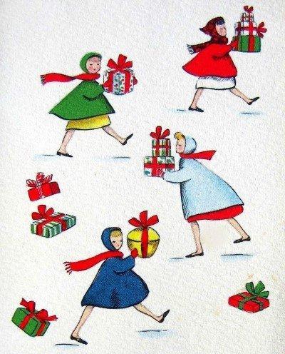 christmas shopping vintage
