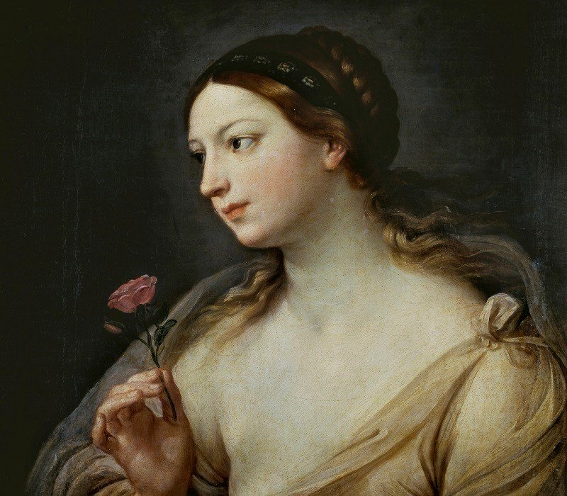 guido reni-girl with a rose